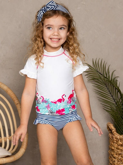 Girls White Rash Guard Flamingo Print & Striped Side Ruffle Bottom Two Piece Swimsuit - White / 2T/3T - Girls Two Piece Swimsuit
