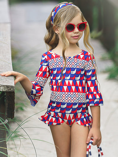 Girls Retro Print 3/4 Sleeve Ruffled Rash Guard One Piece Swimsuit with Matching Headband