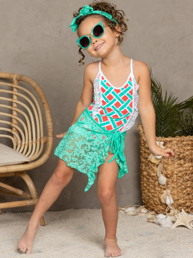 Girls Lace Ruffled Side Tie Swimsuit Sarong Cover Up and Bow Headband - Mint / 2T/3T - Girls Swimsuit Cover Up