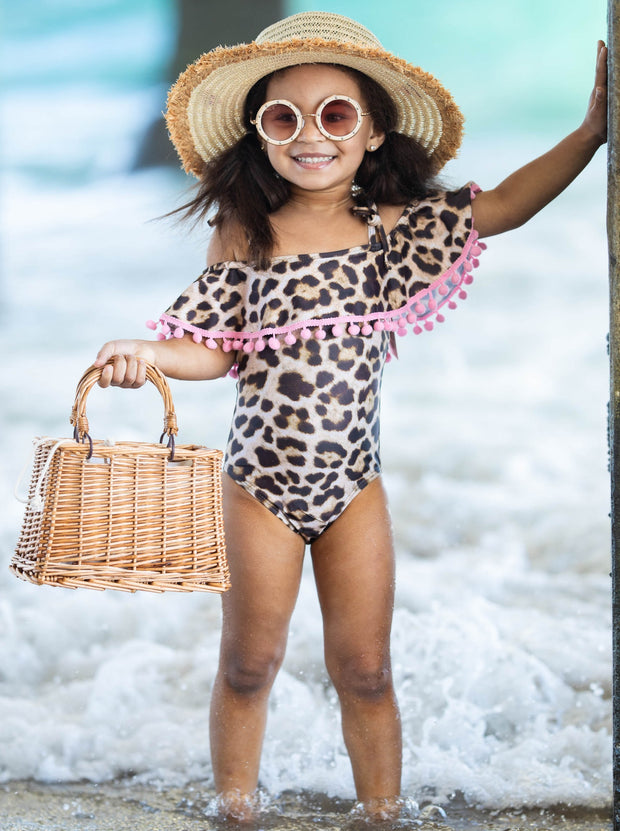 Girls Off the Shoulder Pom Pom Ruffle One Piece Swimsuit - Brown / 2T/3T - Girls One Piece Swimsuit