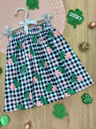 girls St Patrick Black and white plaid skirt with green and pink clover prints 2T-10Y