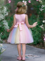 Girls Spring Pink Flower Applique Special Occasion Dress 4T-8Y