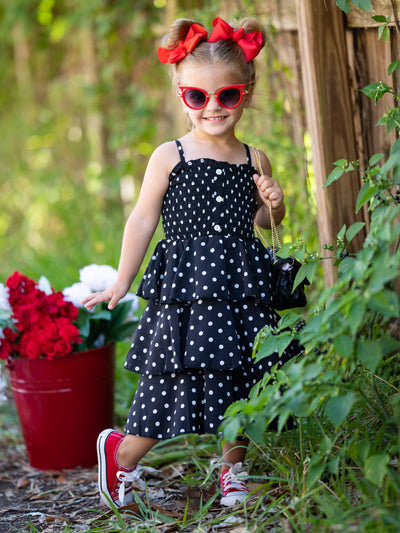 girls spring multi layer black and white polka dot dress with front button 2T-10Y