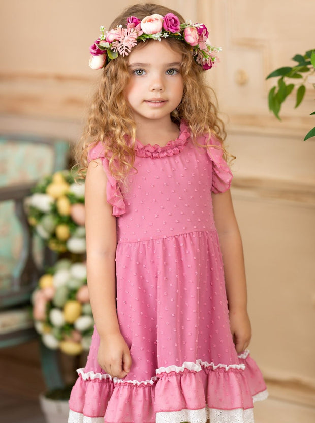Girls Spring Dress with ruffled collar and ruffled hem with lace  2T-10Y pink