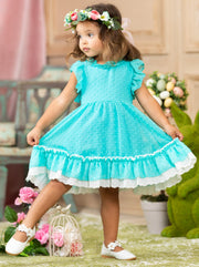 Girls Spring Dress with ruffled collar and ruffled hem with lace 2T-10Y Blue