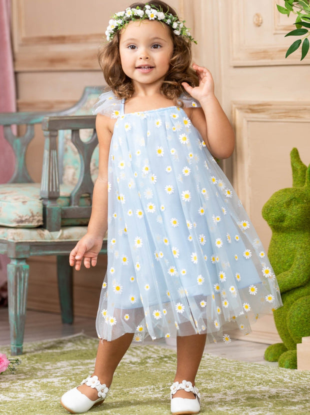 girls spring tulle dress with daisy applique 2T-10Y light blue