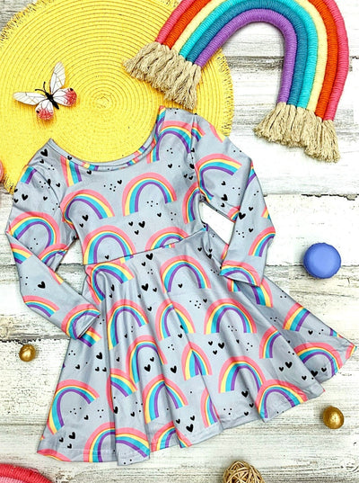 Girls Rainbow Print Long Flared Sleeve Dress 2T-10Y
