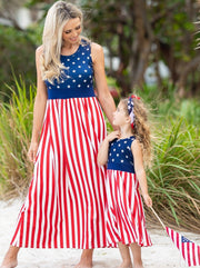 Mommy and Me 4h of July Maxi Dress features a starred bodice and striped skirt