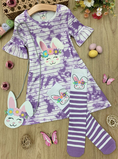 Girls Tie Dye Bunny Dress with Socks and Purse Set 2T-10Y purple