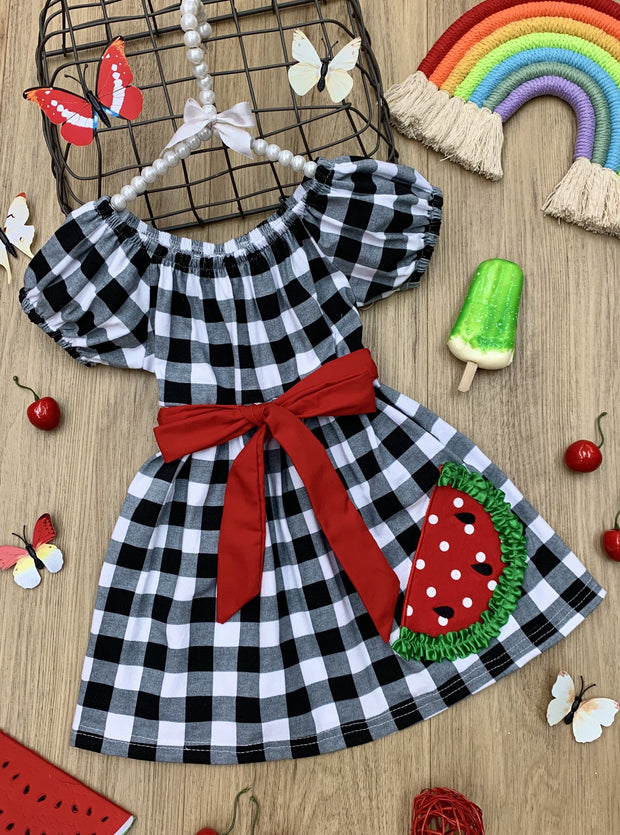 girls spring plaid watermelon applique dress 2T-10Y