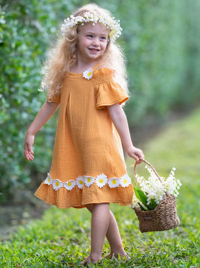 girls spring yellow dress with daisies 2T/10Y