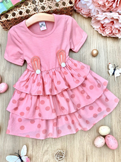 Girls Spring Easter dress with mulit layer skirt with polka dots, pink and bunny ear applique at the waist 2T-10Y