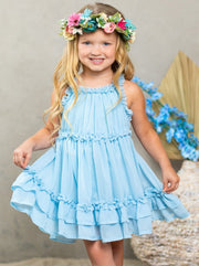 Girls Spring midi dress has ruffled straps and a double ruffle at the hem 2T-10Y blue