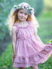 Girls Spring midi dress has ruffled straps and a double ruffle at the hem 2T-10Y Pink