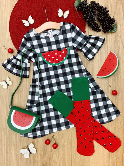 Girls Spring plaid dress with watermelon print, watermelon purse, and matching watermelon knee socks set 2T-10Y