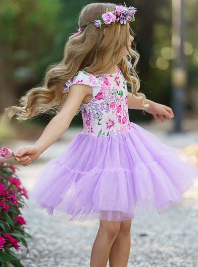 Girls Spring dress features a floral bodice and ruffled purple tutu dress 2T-10Y