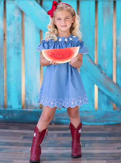 girls spring denim daisy dress 2T-10Y