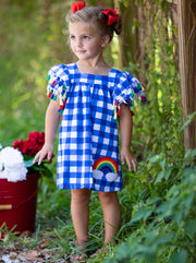 Girls Rainbows and Clouds Checkered Dress