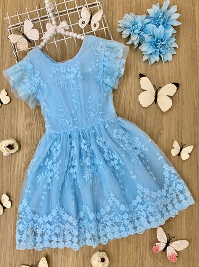 girls light blue lace summer dress with capped sleeves