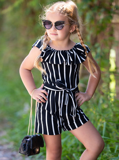 girls striped romper features ruffles and an off-shoulder neckline with a large bib and sash