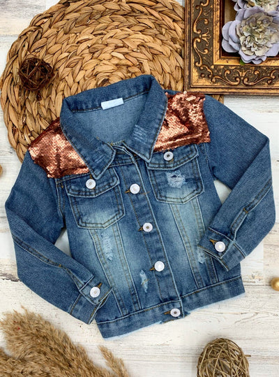 Girls Sequin Long Sleeve Denim Jacket 2T-10Y