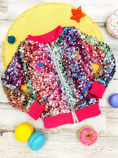 Girls Sequin Zippered Bomber Jacket 2T-10Y