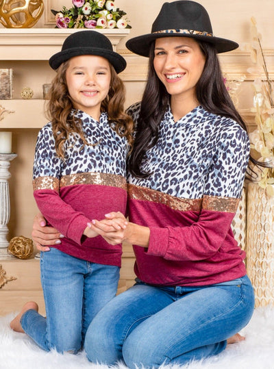 Mommy and Me Long Sleeved Leopard Print Hoodie Multicolor Spring Valentine 2T-10Y Mom S - XXL