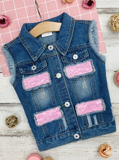 Girls Denim with Sequin Patches Vest 2T-10Y