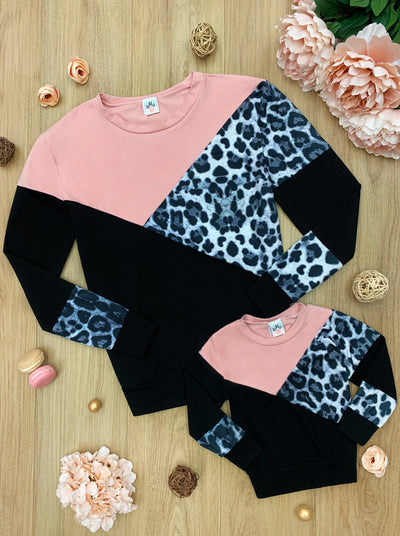 mommy and Me Slanted Color Block Sweater leopard , pink and black 2T-10Y and mom S to XXL