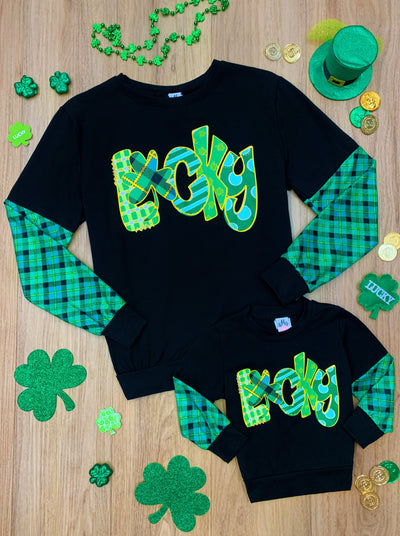 Mommy and Me St Patrick's Day raglan sweater with plaid sleeves and lucky print 2T-10Y mom S to mom xxl