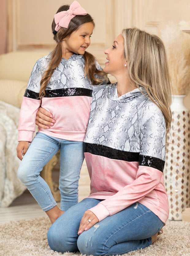 Mommy & Me snake and Pink and sequin Sweater 2T-10Y and mom S to XXL