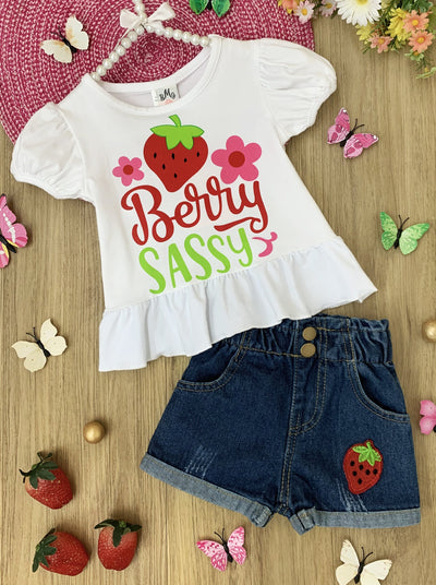 "girls set features a white top with strawberry and ""Berry Sassy"" print and denim shorts and a strawberry detail"