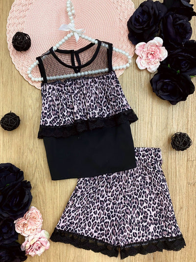 girls spring leopard and black top with leopard shorts set 2T-10Y