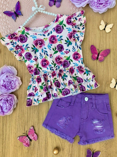 girls Spring Short Sleeved floral and distressed denim shorts 2T-10Y