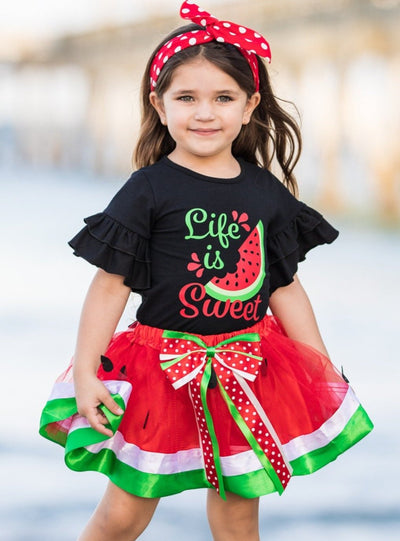 Girls Black Life is Sweet top with ruffled sleeves and watermelon tutu skirt with sash 2T-10Y