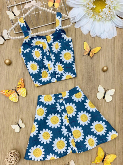 Girls Blue Set features a blue top and skirt with a daisy print