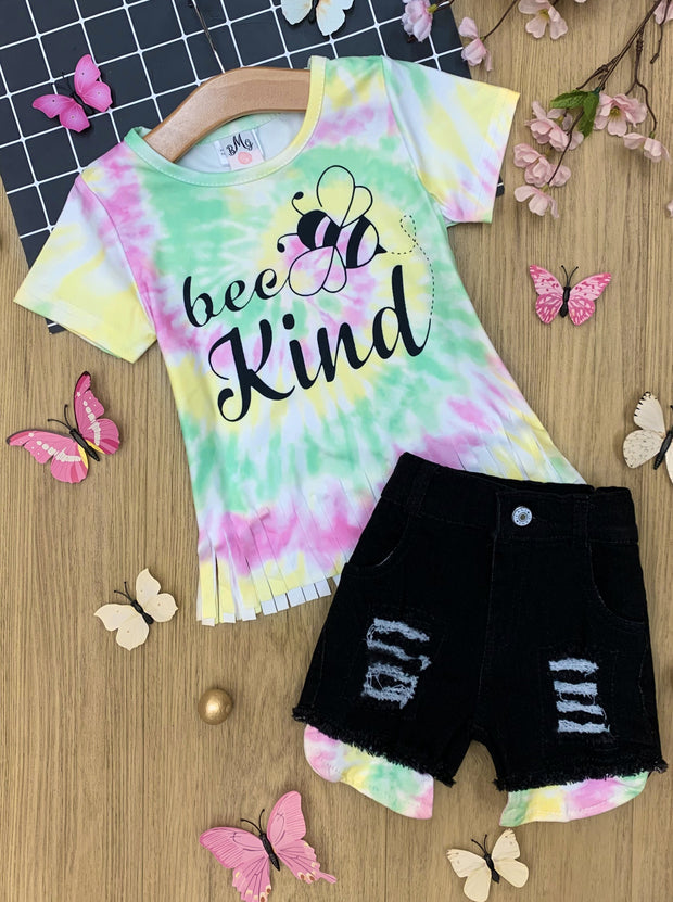 Girls Bee Kind Tie-Dye Top and Denim Shorts Set