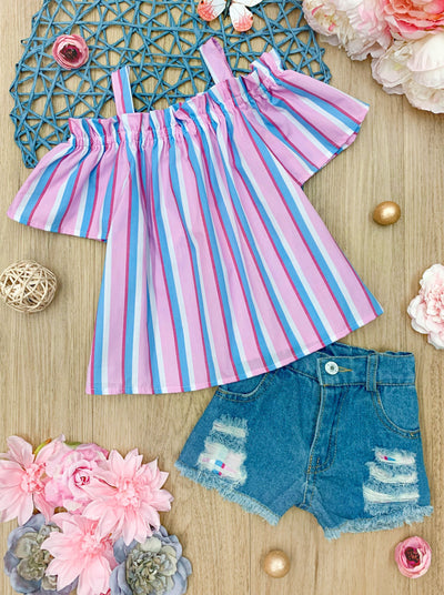 Girls Spring Striped Top Pink and Blue and Denim distressed Patched Shorts Set 2T-10Y