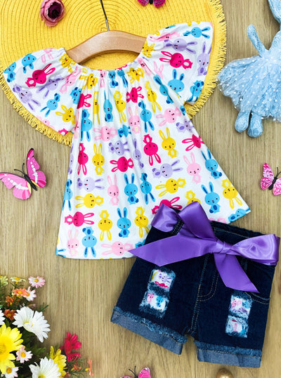Girls Bunny Top and Denim Shorts Set with Sash Easter and Spring 2T-10Y
