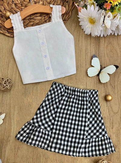 Girls White Cropped Top with Front Buttons and Checkered Skirt