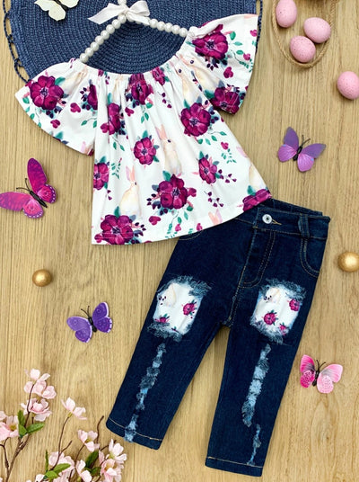 girls floral top with patched jeans Spring 2T-10Y