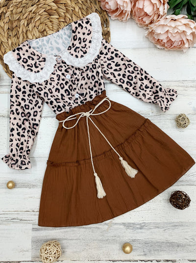 Girls Long Sleeved Collared Animal Print Top and Skirt Set 2T-10Y