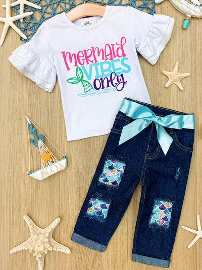 "Girls white ""Mermaid Vibes Only"" Ruffle Top and Mermaid Patches Jeans Set with turquoise Sash 2T-10Y"