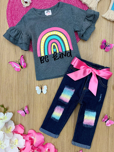 girls ruffled short sleeved top with be kind rainbow print and patched jeans with sash 2T-10Y