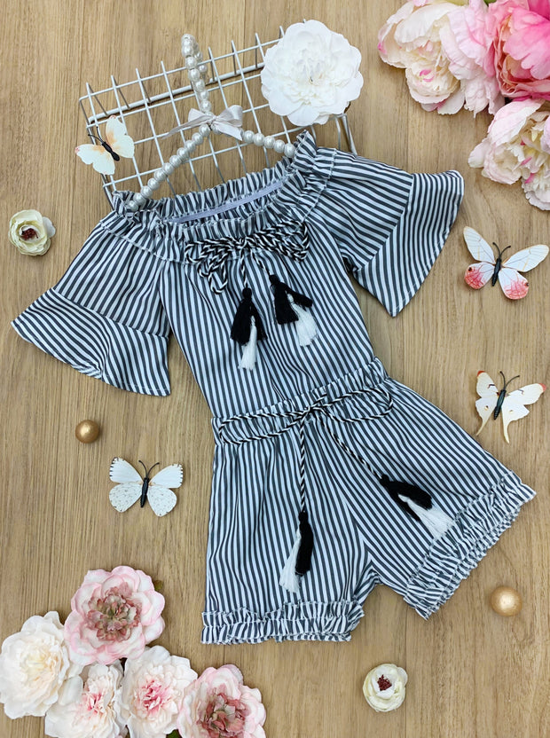 Girls Striped Off Shoulder Top with Matching Shorts Set 2T-10Y