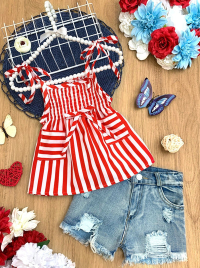 Girls set features a white/red striped top with adjustable straps and 2 front pockets with distressed denim shorts