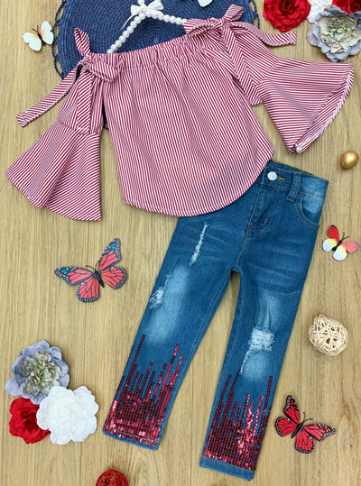 Girls Kimono Sleeved Off the Shoulder Top with Sequin Jeans Set 2t-10Y Valentine