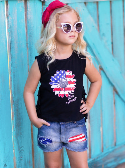 Girls set features a blue top with a Flower Americana graphic and fringes on the side with patched denim shorts