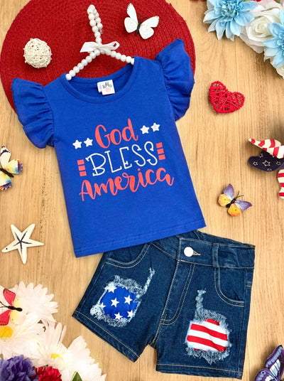 "Girls set features a white top with ""God Bless America"" print and denim shorts"
