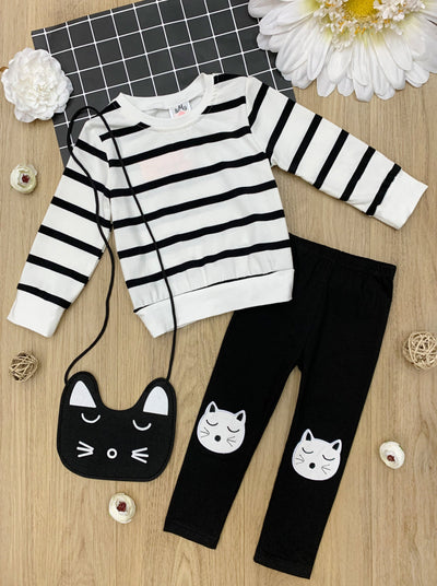 Girls Striped long Sleeved Top with Kitten Knee Patch Leggings Set blakv and white stripes Spring 2T-10Y